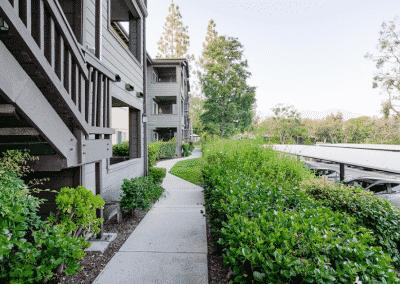 Garden pathways at Crestwood Apartments