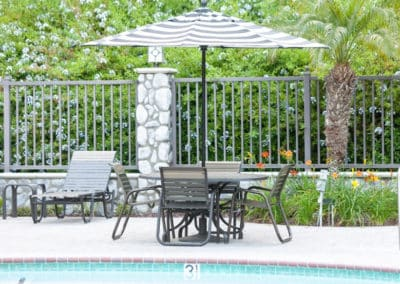 Patio furniture next to the sparkling pool